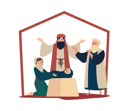 Christian scene of adoration of the Magi, flat vector illustration isolated.