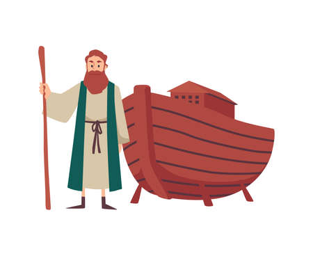 Noahs the Bible prophet and his ark boat, flat vector illustration isolated.
