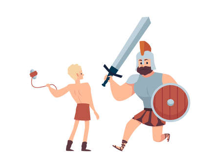 Giant warrior goliath fighting with young david a vector illustration.