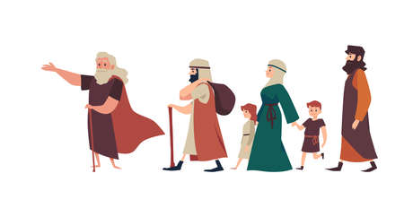 Biblical Moses leads Jewish people from Egypt, flat vector illustration isolated.