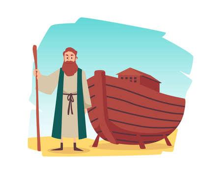 Biblical episode of noahs ark in flat cartoon vector illustration isolated.