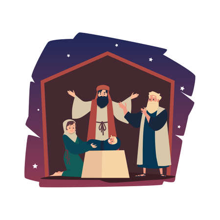 Holy happy family Joseph and Mary with newborn baby Jesus a vector illustration.