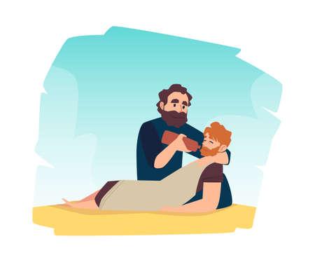 Scene of bible christian parable about good samaritan help to injured man.