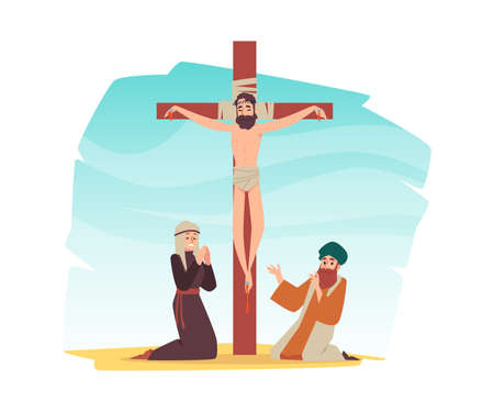 Jesus Christ on the cross, symbol of Christianity vector illustration isolated.