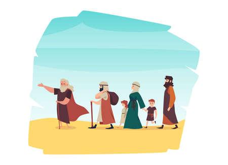 Old Testament exodus israelites of Egypt, flat vector illustration isolated.