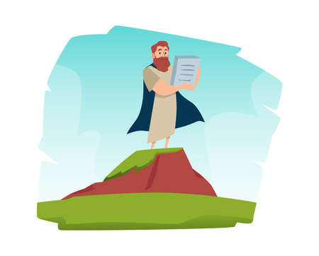Bible prophet Moses with Gods commandments, flat vector illustration isolated.