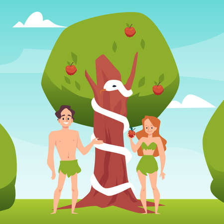 Temptation of Adam and Eve with forbidden fruit, flat vector illustration. 向量圖像