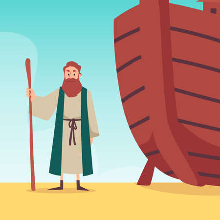 Bible banner with Noah standing near his ark, flat vector illustration.