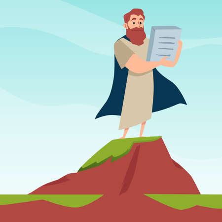 Prophet moses stand on mountain sinai holding stone tablets.