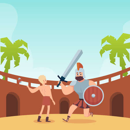 Battle of young king David and giant Goliath, flat vector illustration. 向量圖像