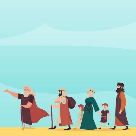Bible Exodus episode of israelites left Egypt, flat vector illustration. 向量圖像