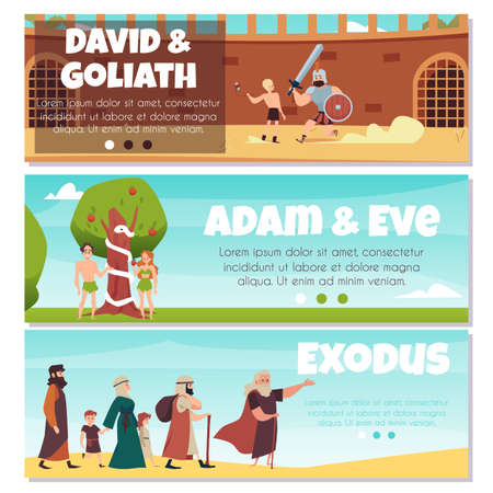 Bible banners with Adam and Eve, king David and Exodus, flat vector illustration.