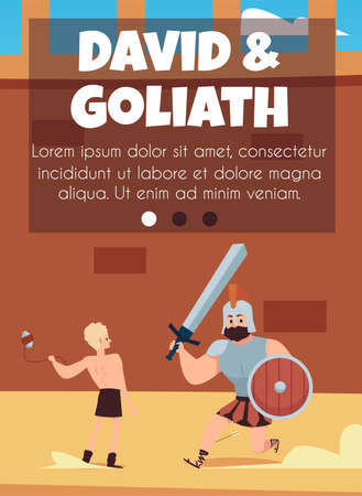 David and Goliath card template on topic of Bible, flat vector illustration.