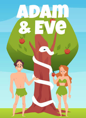 Biblical theme banner with Eve and Adam under knowledge tree, flat vector illustration. Old Testament narrative banner or card with Adam and Eve in paradise garden.