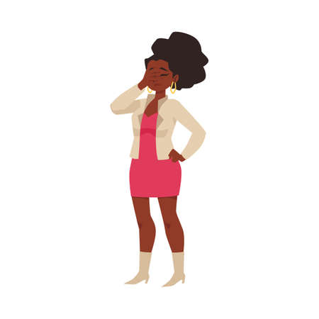 Woman with gesture of disappointment and annoyance, flat vector illustration.