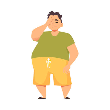 Man disappointed or confused with sudden fail, flat vector illustration isolated. 向量圖像