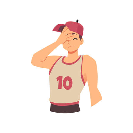 Embarrased person confused and wondering, flat vector illustration isolated. 向量圖像