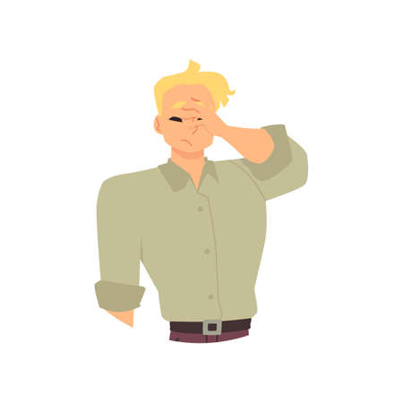 Sad disappointed young man in stress cover face with palm a vector illustration.