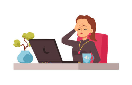 Disappointed embarrassed girl sitting on workplace with laptop computer. 向量圖像