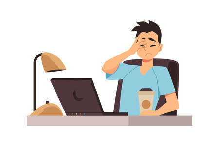 Disappointed man at laptop feeling distress and despair, flat vector isolated.