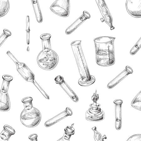 Vector illustration of seamless pattern with chemical glassware for laboratory on white background.