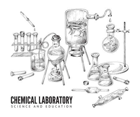Vector sketch background with equipment and glassware for chemical scientific or educational laboratory. 向量圖像