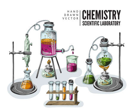 Color hand drawn sketch vector illustration of equipment for chemical scientific laboratory.