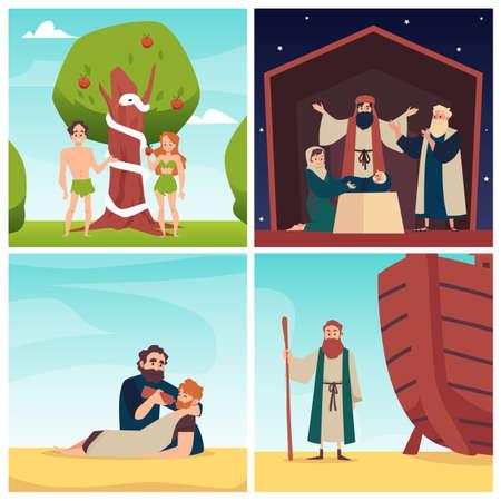Expulsion from paradise, birth of jesus, noahs ark, parable of good samaritan.