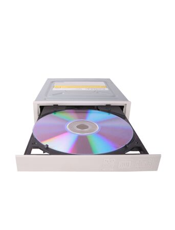 dvdrw: DVD-RW drive with disk over white