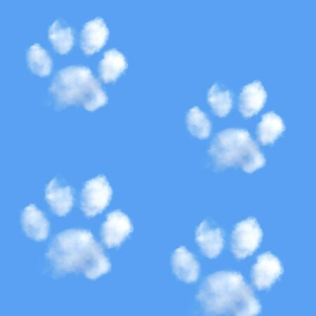 White fluffy clouds in shape of animal paw on the blue sky