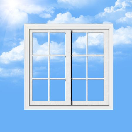 White window with blue sky with clouds and sun
