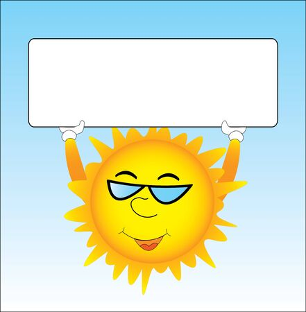 Sun is holding blank board in hands for your text