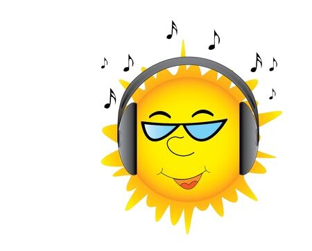 Sun in headphones is listening good music Vector
