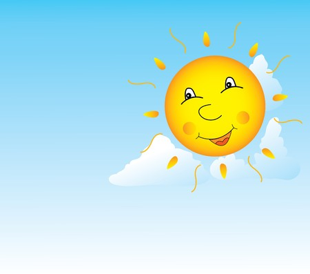 Image of the smiling sun in clouds Illustration
