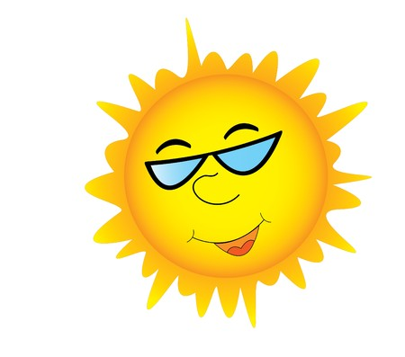 Smiling sun in sunglasses