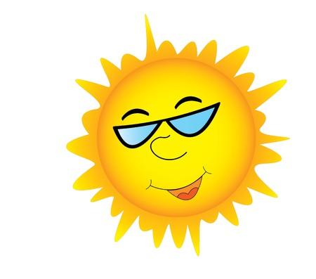 soleil souriant: Sourire soleil dans les lunettes de soleil  Illustration