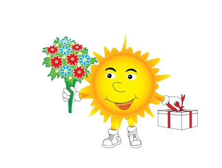 The sun gives a bunch of flowers and a gift Illustration