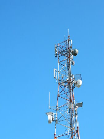 lte: Communication Tower with  GSM Antennas LTE and amzing clear Blue Sky.