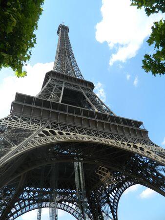 below: Eiffel Tower view from below Stock Photo