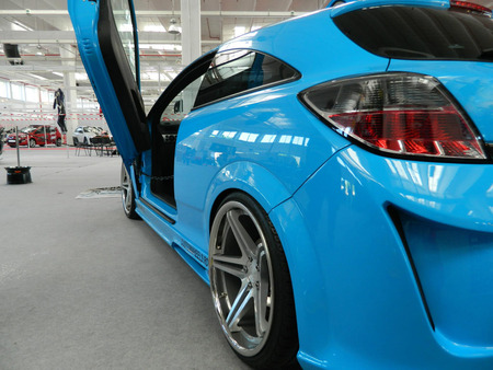 Blue tuned car  Vauxhall  Opel Astra from the back