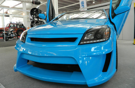 astra: Blue tuned car  Vauxhall  Opel Astra from the front Stock Photo