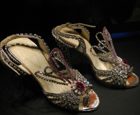 jeweled: Womens shoes inlaid with crystals, luxury shoes and very expensive.