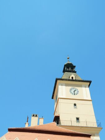 old town hall: The old town hall and city council in Brasov, Romania with beautiful architecture and clock.