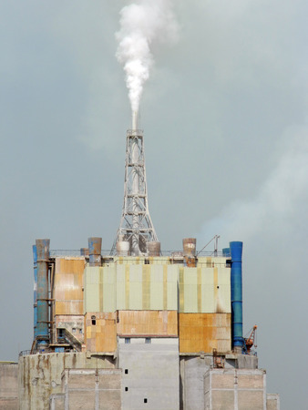 polluting: Chemical factory polluting air near Targu Mures, Romania, producing fertilizers. Stock Photo