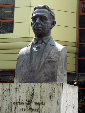 Bust sculpture of Octavian Goga in Astra Park , Sibiu, Romania. Stock Photo - 46160081