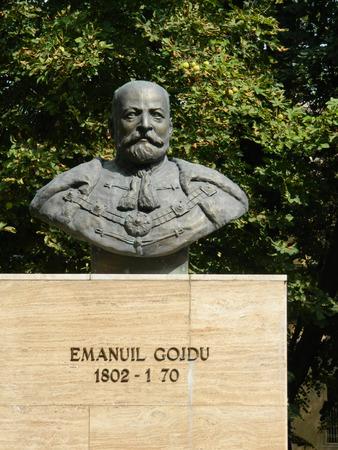 astra: Bust sculpture of Emanuil Gojdu in Astra Park , Sibiu, Romania.
