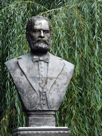 astra: Bust sculpture of August Treboniu Laurian in Astra Park , Sibiu, Romania.