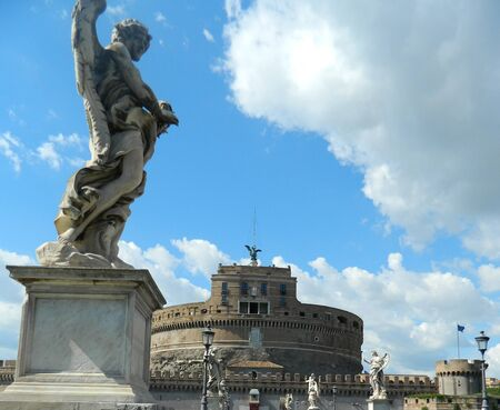 angelo: Angel statue and Castel Sant Angelo, Rome, Italy.