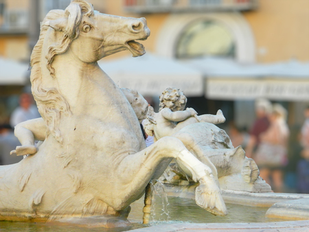 statue: Detail, horse statue , fountain of Neptune, Rome, Italy. Stock Photo