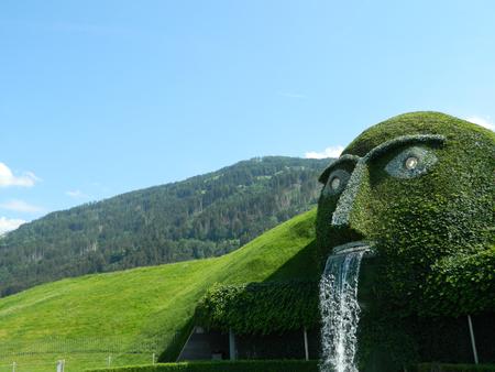 swarovski: Swarovski green man of legend near Innsbruck, Austria, at the main crystal factory.
